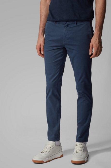 Slim-fit broek in een twill van stretchkatoen met dessin, Donkerblauw