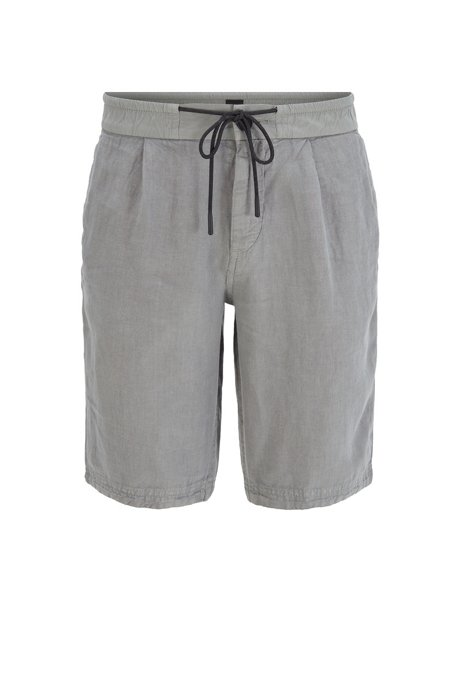 Shorts tapered fit de puro lino con cordón, Gris