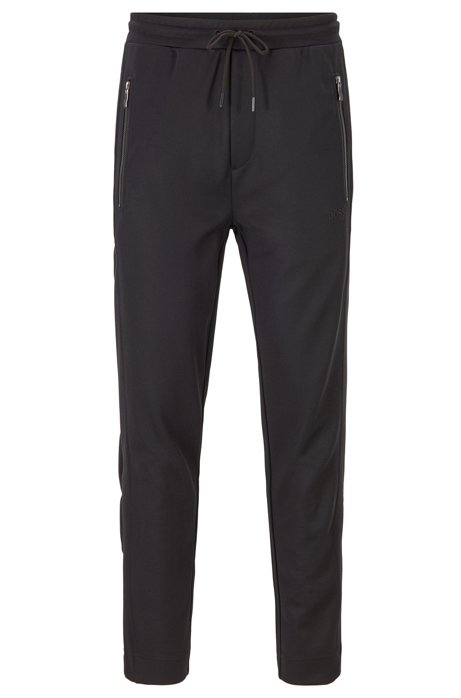 Regular-fit jogging trousers with press-stud side seams, Black