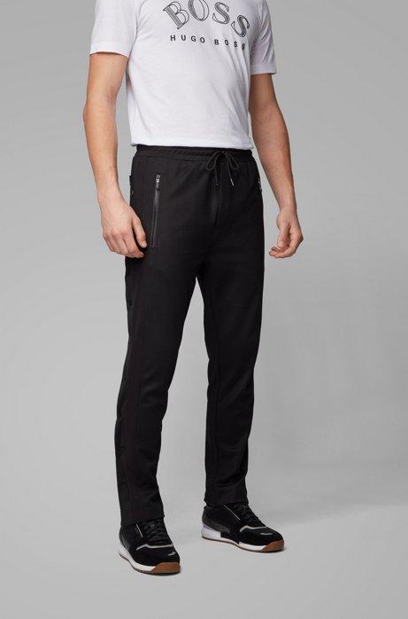 Regular-Fit Jogginghose mit Druckknöpfen an der Seite, Schwarz
