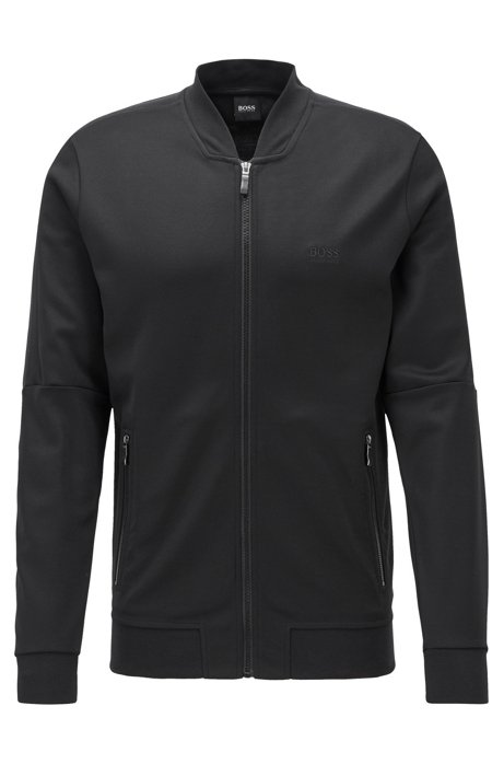 Sweatshirt van gestructureerd materiaal met ritssluiting en logo-artwork, Zwart