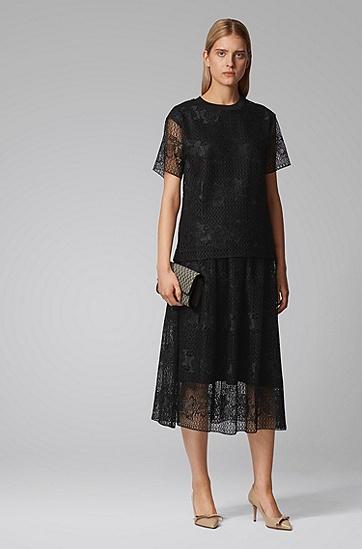 女士同色衬里交织字母加花卉装饰蕾丝半身裙,  001_黑色