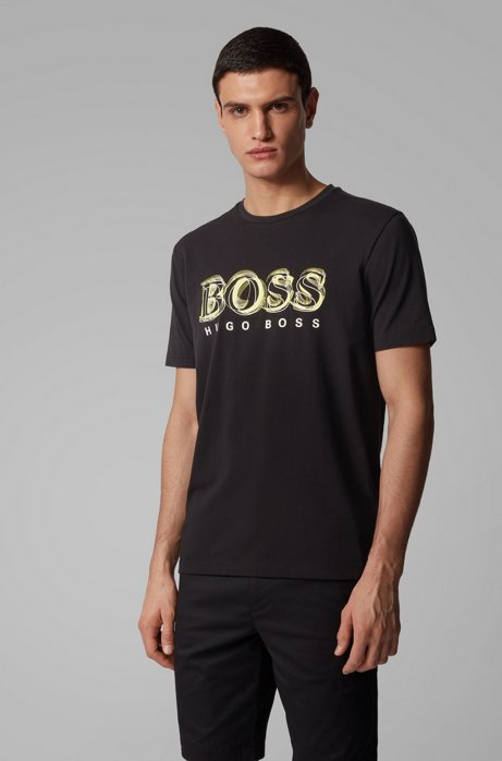 Stretch-cotton T-shirt with printed logo artwork, Black
