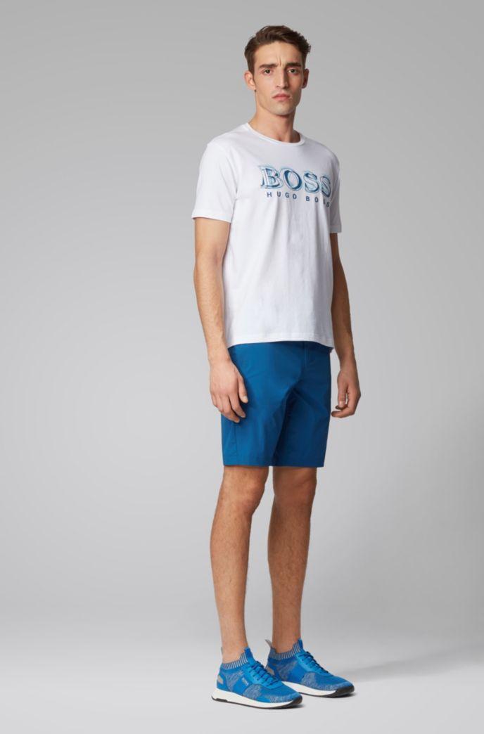 Stretch-cotton T-shirt with printed logo artwork