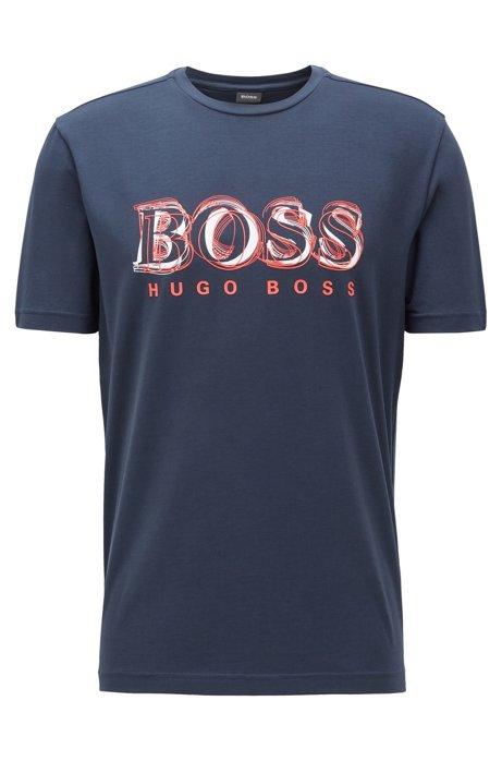 Stretch-cotton T-shirt with printed logo artwork, Dark Blue