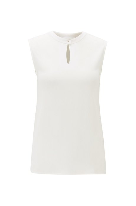 Regular-fit top with stand collar in crepe, Natural