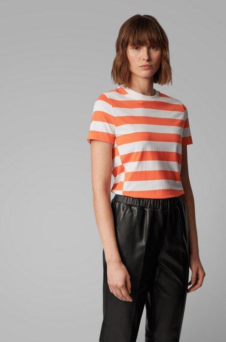 T-Shirt aus elastischem Modal mit Baumwolle und Streifen, Gemustert