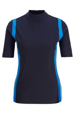 Slim-fit top with colourful stripes and rear zip, Dark Blue