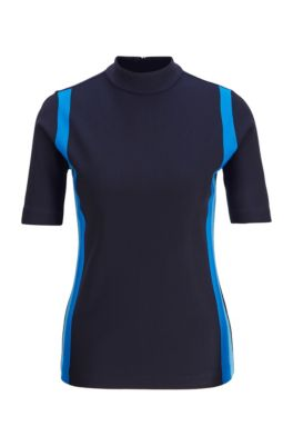 Maglia slim fit con righe colorate e zip posteriore, Blu scuro