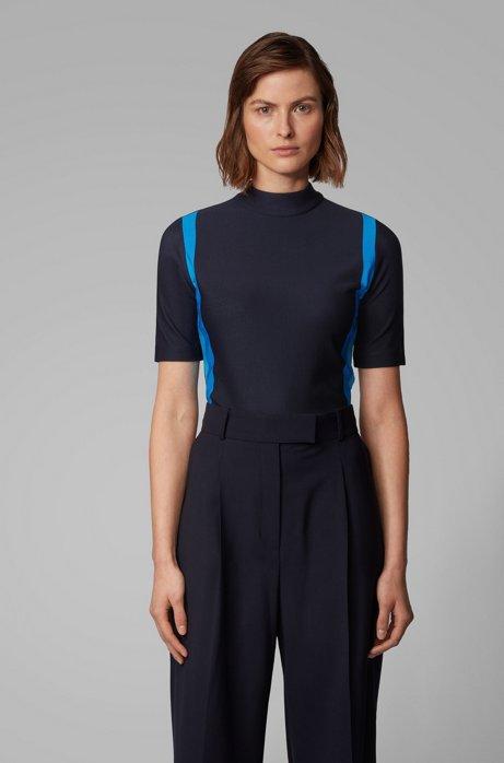 Slim-fit top met kleurrijke strepen en ritssluiting aan de achterkant, Donkerblauw