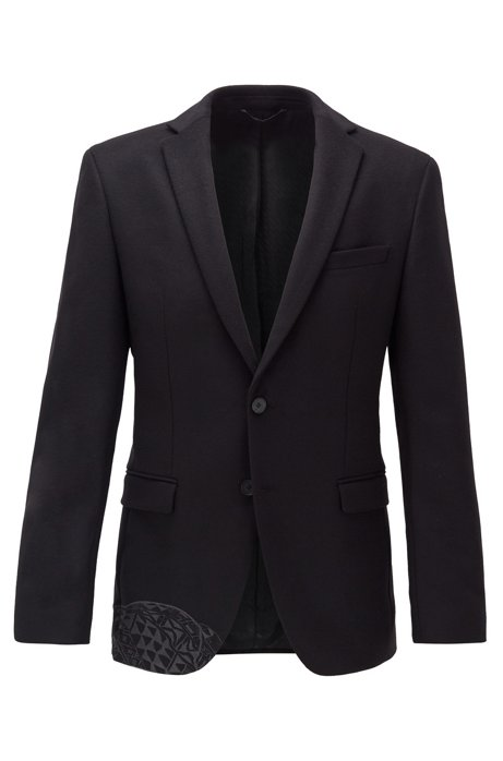Extra-slim-fit jacket in virgin wool and cashmere, Black