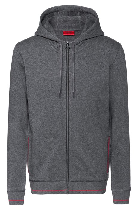Zip-through hoodie in cotton terry with logo pocket, Grey