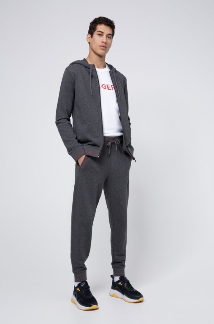 Zip-through hoodie in cotton terry with logo pocket