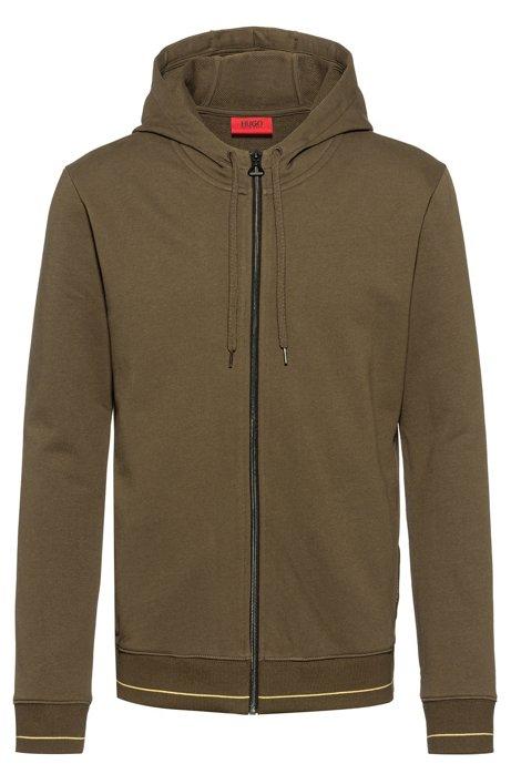 Zip-through hoodie in cotton terry with logo pocket, Khaki