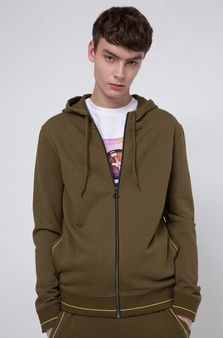 Zip-through hoodie in cotton terry with logo pocket, Khaki
