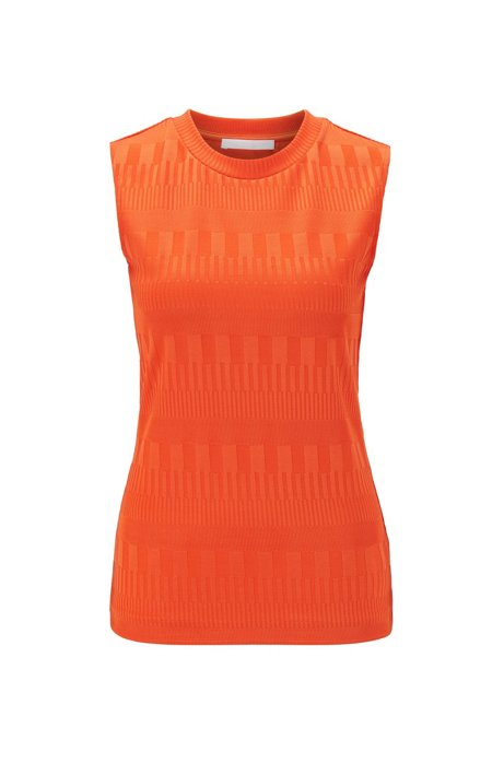 Slim-fit top in stretch jersey with crew neckline, Orange
