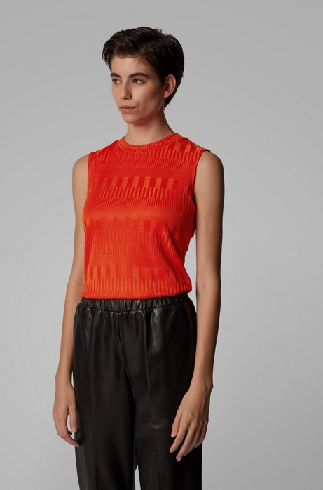 Top Slim Fit à col rond en jersey stretch, Orange