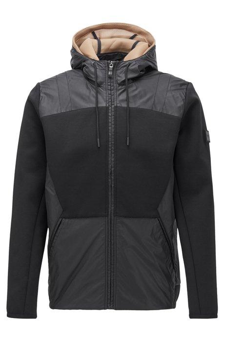 Hybrid-Jacke mit abnehmbarer Mesh-Kapuze und Reißverschluss, Schwarz