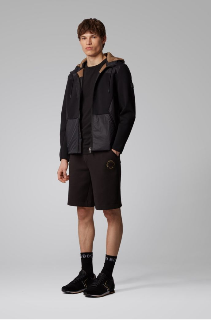 Hybrid zip-through jacket with detachable mesh hood