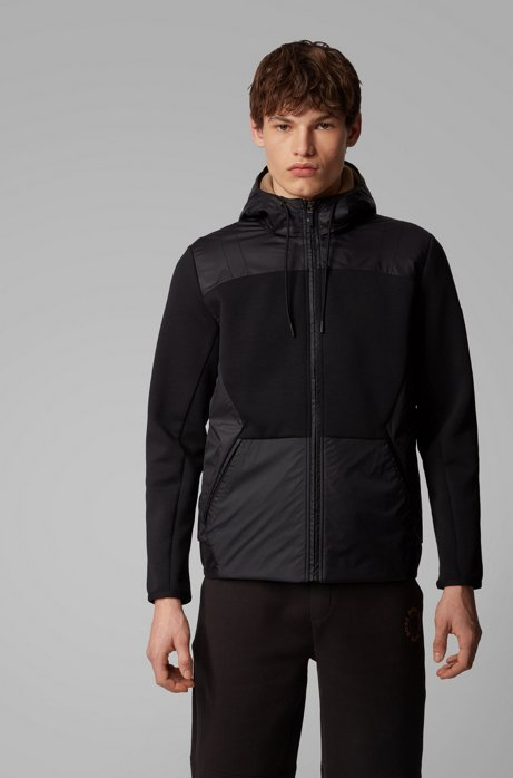 Hybrid zip-through jacket with detachable mesh hood, Black