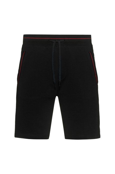 Relaxed-Fit Shorts aus Baumwoll-Terry mit Kontrastdetails, Schwarz