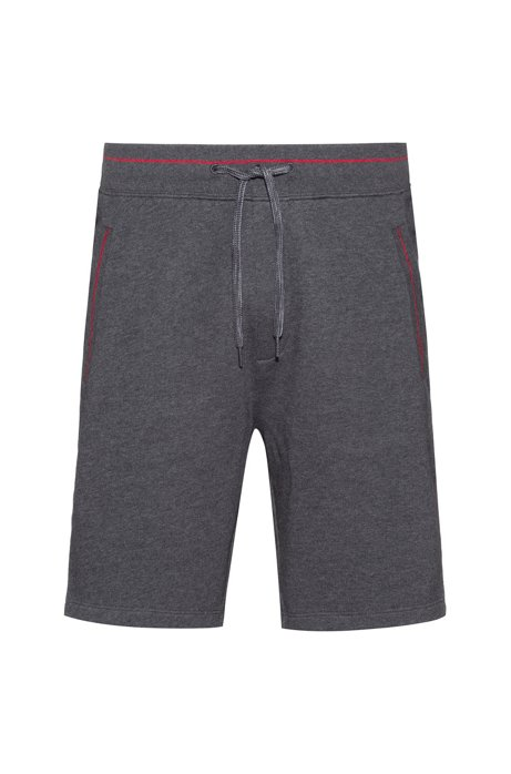 Relaxed-fit shorts in cotton terry with contrast details, Grey