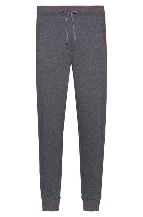 Cuffed jogging trousers in French terry with contrast details, Grey