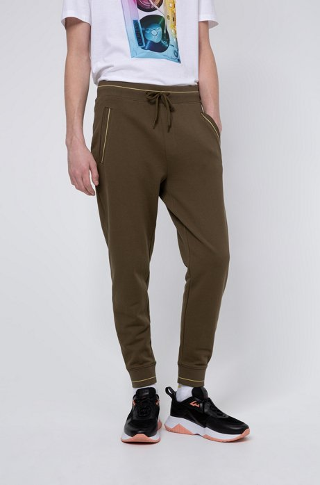 Cuffed jogging trousers in French terry with contrast details, Khaki