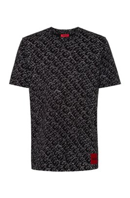 Cotton-jersey T-shirt with cubistic logo print, Patterned