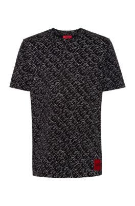 Camiseta en punto de algodón con logo estampado de estilo cubista, Fantasía