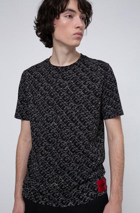 T-Shirt aus Baumwoll-Jersey mit kubistischem Logo-Print, Gemustert