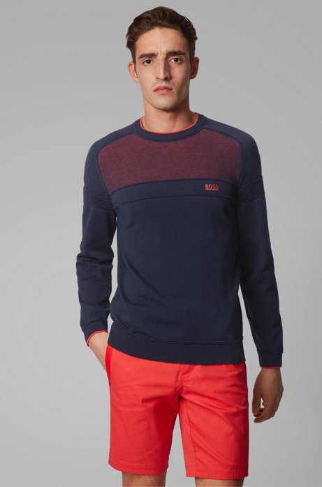 Regular-fit sweater in organic cotton with mesh structure, Dark Blue
