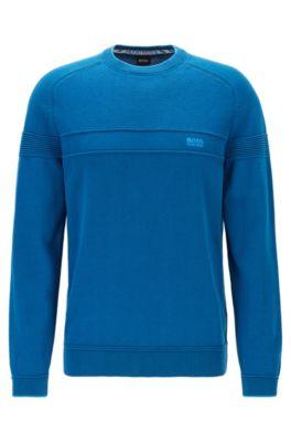 Pullover aus Bio-Baumwolle mit Mesh-Struktur, Blau