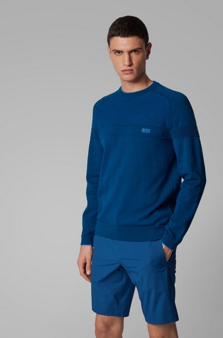 Regular-fit sweater in organic cotton with mesh structure, Blue