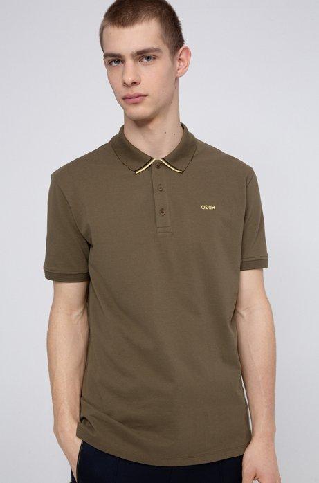 Regular-fit polo shirt in cotton-piqué, Khaki