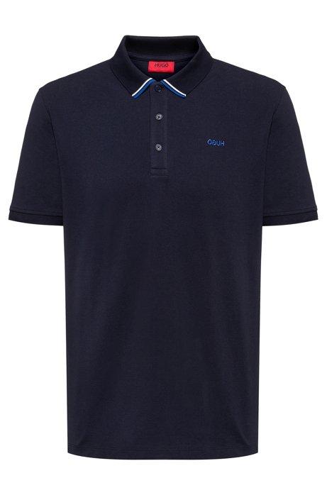 Regular-fit polo shirt in cotton-piqué, Dark Blue