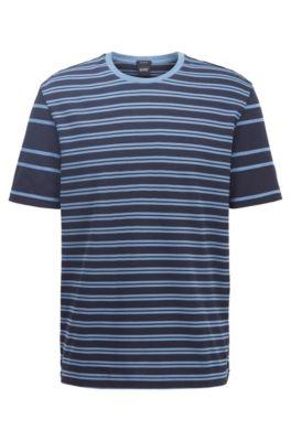 T-shirt in cotone regular fit a righe miste, Blu scuro