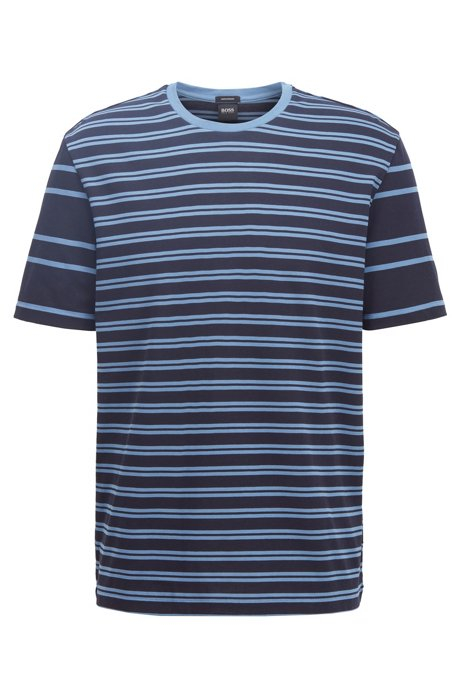 T-shirt in cotone regular fit a righe miste, Blu scuro
