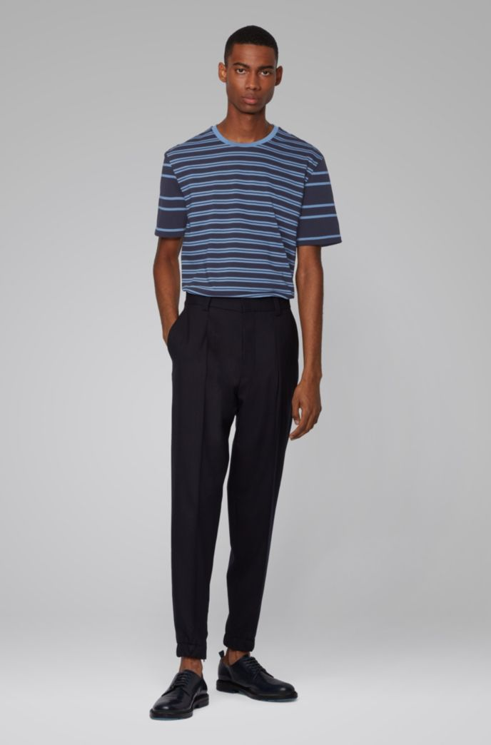 Regular-fit T-shirt in cotton with mixed stripes