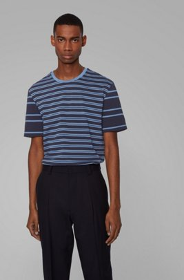 Regular-fit T-shirt in cotton with mixed stripes, Dark Blue