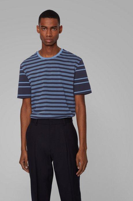 Gestreiftes T-Shirt aus Baumwolle mit Streifen-Mix, Dunkelblau