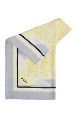 Cotton-blend square scarf with all-over pattern, Patterned