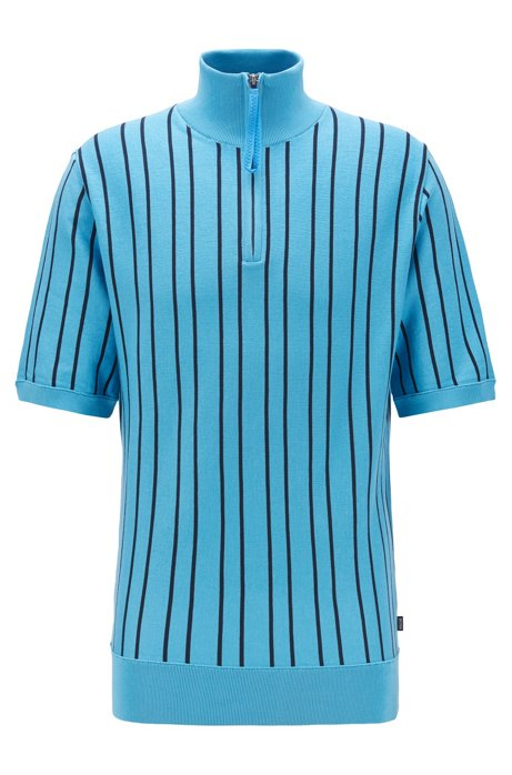 Short-sleeved zip-neck sweater in striped cotton, Turquoise