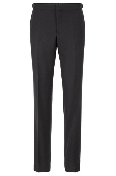 Slim-fit trousers in virgin wool with side-waist adjusters, Black