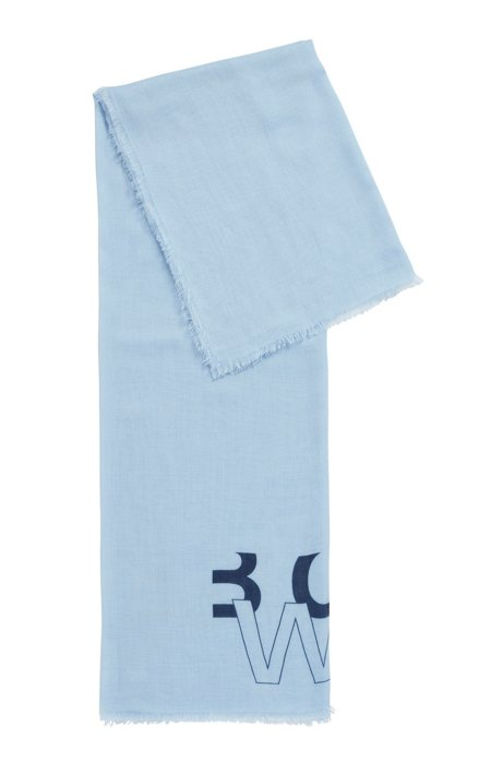 Melange scarf with printed logo, Light Blue