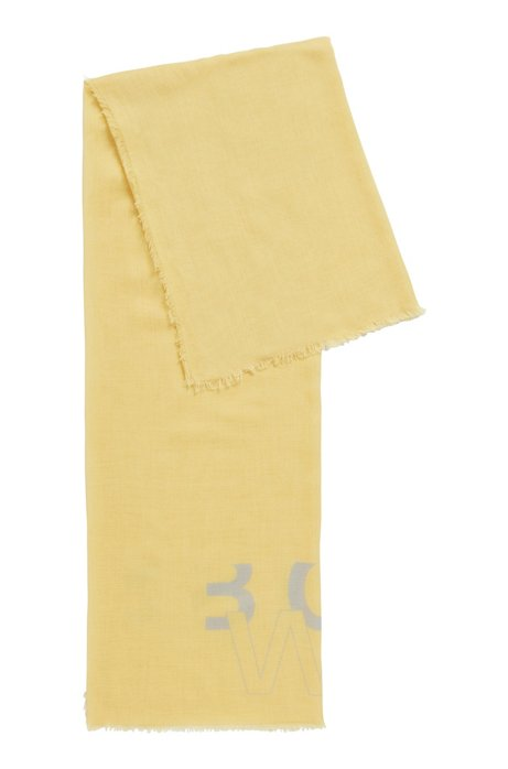 Melange scarf with printed logo, Yellow