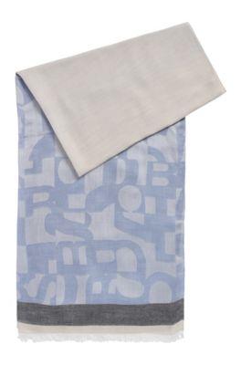 Écharpe en maille jacquard à motif logo déstructuré, Bleu vif