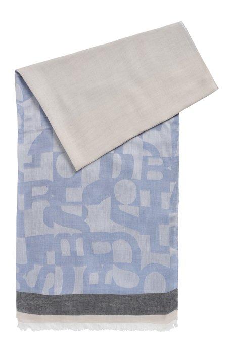 Sciarpa in maglia jacquard con logo destrutturato, Celeste