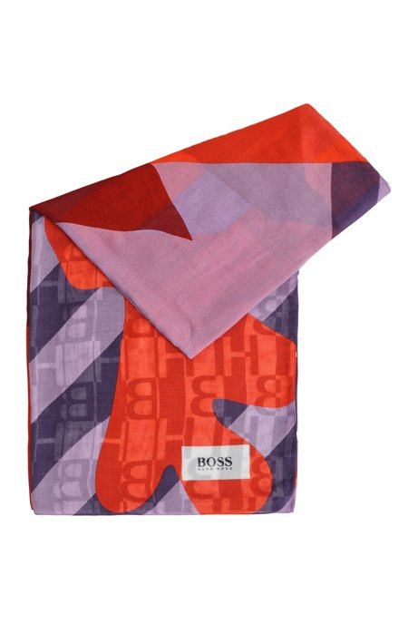 Modal scarf in mixed prints, Light Purple