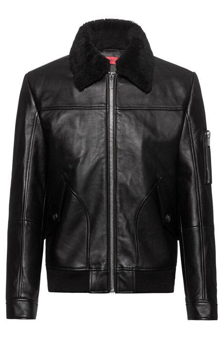 Padded-leather bomber jacket with shearling collar, Black